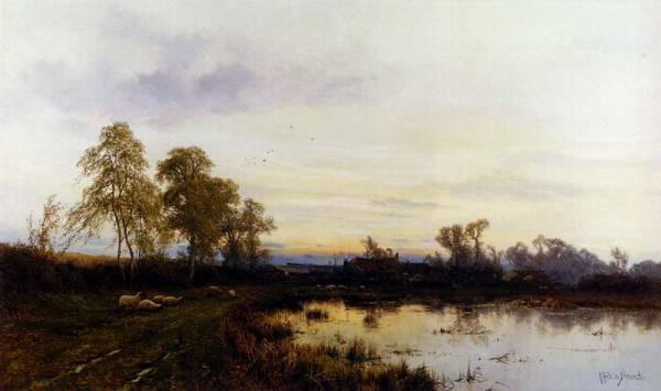 Breanski Alfred de Sunset Over A Farmyard